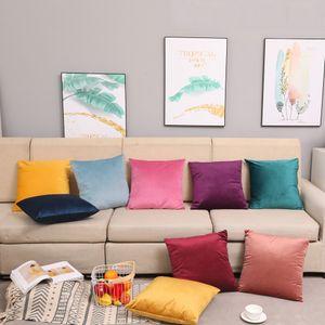 45 * 45CM Velvet minimalista Lazer Pillowcase Modern Sofa Almofada 12 cor sólida Suede confortável Pillowcase Home Textiles XD23542