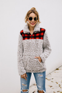 Mujeres Plaid Patchwork Plush Coat Girl Casual Zipper Stitching Pocket Hoodies Turndown Collar Manga larga Fleece Tops Outwear GGA2563