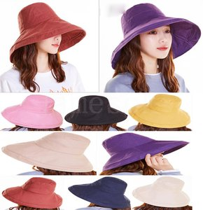 2020 Dames Anti-ultraviolet Large Sun Hat Sun Hatch Vacances Summer Panama Pliable Bucket Chapeau Big Bron Chapeau Da501
