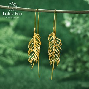 Lotus Fun Fashion Creative Fern Leaves Drop Earrings Real 925 Sterling Silver 18K Gold Earrings for Women Handmade Fine Jewelry