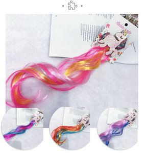 Kids Glitter Hair Bows Princess Dress Up Braided Curly Wig Hair Extension unicron Hairpin Hair Accessories KKA7900