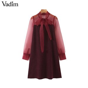 Vadim women elegant Organza print mini dress bow tie sashes elastic long sleeve female stylish chic dresses vestidos QC901