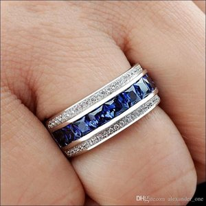 Hotstone88 Handmade 14K White Gold Filled Square Simulated Diamond CZ Stone Overlay Eternal Wedding Engagement Ring for Women and Men
