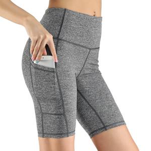 US Stock Femmes Sports Yoga Shorts pour dames imprimé camouflage poches Hip-Yoga Fitness Courir resserrant pantalons Sport Fitness Shorts FY9088