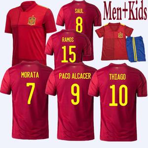 Tayland İspanya Forması Futbol Forması 2020 Francisco Alcácer ASENSIO Morata ISCO INIESTA THIAGO SAUL 2019 2020 Yetişkin erkek çocuklar Spor Futbol atletler