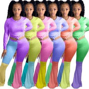 Женская Bell Bottom Flared Пол Длинные брюки набор из двух частей Эпикировка Tshirt Блуза Пуловер + Лоскутная Цвет Леггинсы Tracksuit Одежда D8411