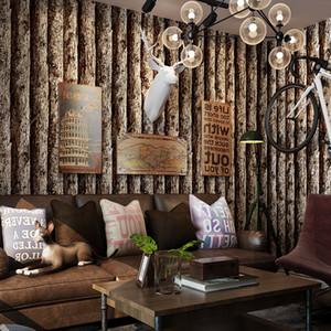 Imitation wood grain wallpaper 3D stereo retro nostalgic wood color simulation bark pattern Chinese restaurant hotel wall