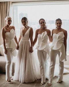 Strapless Beach Bridesmaid Jumpsuit 2020 Modest Peplum Ruffles Backless Outdoor Garden Junior Bridesmaid Pant Suit