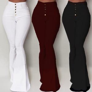 Calças brancas-de-sino Mulheres Botão cintura alta Alargamento Pants New calças slim Casual Trabalho elegante Pantalon Femme