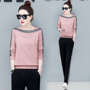 YICIYA tute rosa per le donne 2 Parte dell'arco set set co-ord più alto dimensioni e vestiti di pantaloni inverno 2019 abbigliamento femminile della molla