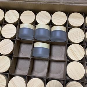متجمد الزجاج جرة كريم زجاجات جولة التجميل الجرار اليد الوجه التعبئة زجاجات 5G 50G الجرار مع غطاء الحبوب الخشب