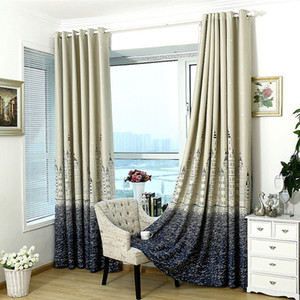 Indicador do castelo Tratamento Modern cortinas de prata Stamping pesado Grosso Blackout Curtain Sala Quarto Isolamento Cortina Home Decor