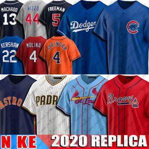 13 Manny Machado 27 Jose Altuve 22 Clayton Kershaw Equipamentos 44 Anthony Rizzo 5 Freddie Freeman 4 Yadier Molina Jersey basebol Jersey