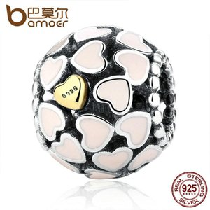 Pandora Style Darling 925-sterling-silver Abundance Of Love Pink Enamel Charm Fit Bracelet Gold Color Heart Jewelry Making PAS036