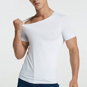 Men's T-Shirt Thin Section Short-Sleeved Summer Ice Silk Ribbed Bottoming T-Shirt Without Trace Slim Stretch V-Neck Solid Color