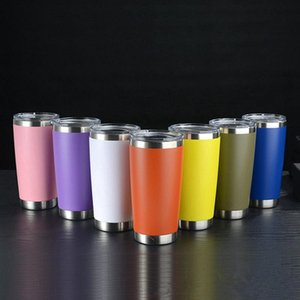 20oz Stainless Steel Tumbler Double Wall Wine Glass Thermal Cup Insulated Coffee Beer Mug With Seal Lids 10pcs RRA3171