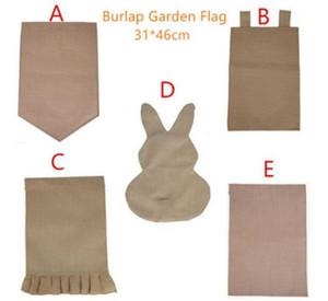 31 * 46cm Conejo arpillera de yute bandera Jardín Pascua Volantes bricolaje lino Yard Colgando la bandera decoración de la casa portátil conejito Banner LJJA3742-13