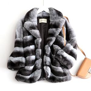 Nouveau profil Rex manteau intégré fourrure chinchilla col tailleur femme manteau de fourrure chaud épais nouvelle mode de style