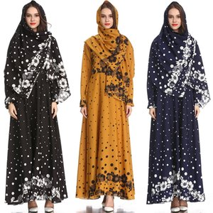 Womens Long Kaftan Abaya Evening Gown Party Muslim Ethnic Print Casual Maxi Long Dress With Scarf