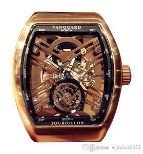 Montre de luxe Pioneer série V 45 T GR CS SQT (NR) Squelette Cadran Miyota automatique Mens Black Watch Case Bracelet en cuir Sport Montres