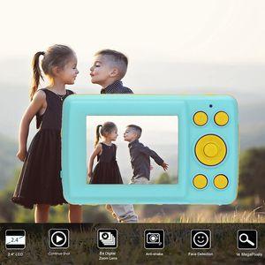 Pantalla 2.4HD cámara 16MP Anti-Shake Detección de la cara Videocámara digital en blanco Punto y disparar la cámara digital portátil Niño lindo (Bl