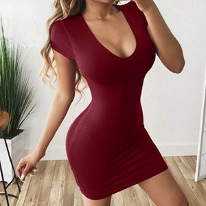 New hot sale European and American sexy package hip solid color short sleeve dress women