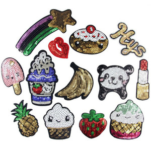 Dibujo animado lindo de las lentejuelas de la fruta de labios Panda parches parches bordados para la ropa de boda de vestir de DIY remiendo de la tela remendar ropa