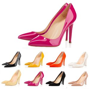 Más nuevo, con fondo rojo, Office Career ACE, diseñador de lujo, zapatos de mujer, tacones altos, 8 cm, 10 cm, 12 cm, cuero negro desnudo, dedos en punta, zapatos de vestir