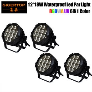 Freeshipping paquete de 4 12x18W RGBWA IP65 LED UV DJ PAR luz DMX impermeable PAR 64 Etapa de iluminación Pantalla LCD fundición de aluminio TP-P52B