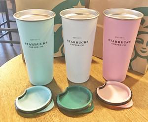 La nueva manera de Starbucks taza de lavanda en polvo púrpura de la pendiente taza de café diosa de acero inoxidable que acompaña taza pareja