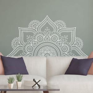 Nouveau Design Moitié Mandala Stickers Muraux Pour La Chambre Décor À La Maison Tête De Lit Vinyle Stickers Fleur Mandala Sticker Yoga Mur LC1196