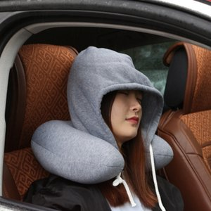 20-25cm del cuello del cuerpo de la almohadilla de la siesta de algodón sólido de partículas almohada suave con capucha T-almohada textiles para el hogar Avión de coches Almohada de viaje Accesorios EEA666