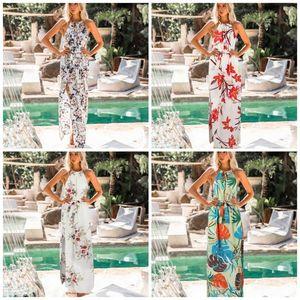 여성 여름 매달려 목 드레스 거들 디자인 Longuette 꽃 인쇄 긴 스커트 섹시한 폴리 에스테르 섬유 초슬림 더 컬러 28xd C1