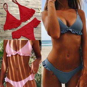 Las mujeres atractivas del bikini tanga brasileña inferior volante del traje de baño ropa de playa Conjunto de bikini