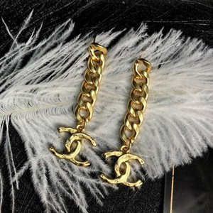 New simple chain plating thick gold cc earrings woman wild personality fashion earrings