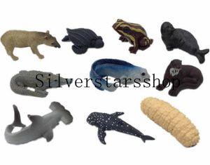 عشرة أطفال من لعبة الأطفال نموذج الدب القطبي سطح المكتب ، والسلاحف ، والتمساح ، محاكاة الحيوان ، القرش الحياة البحرية