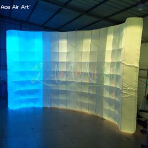 Beleuchteter LED Inflatable Photo Booth Fall aufblasbarer Hintergrund Wand, Dj Kabinenwand für Fotografie für Frankreich für die Werbung mit Logo