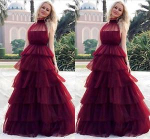 Бургундия Многоуровневые платья выпускного вечера 2019 Illusion Bodice Sweet 16 Платья Вечерние платья для вечеринок для вечеринок Платье для особых случаев Abendkleider