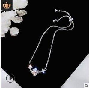 Kristal elmas ayarlanabilir bilezikler parlak bilezik kuğu yonca bilezikler elmas sevgilisi noel düğün gelin hediyeler 506