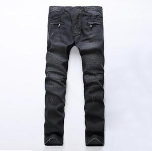 Modedesigner Herren Reißverschluss Biker Jeans Patchwork Slim Fit Schwarz Moto Denim Jogger Plissee Coole Jean