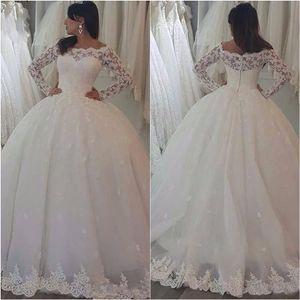 New Arrive Long Sleeve Bateay Sheer Neck Wedding Dresses Ball Gown Lace Applique Floor-length Zipper Bridal Gowns Custom
