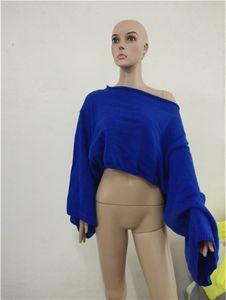 Tasarımcı Slash Boyun Örme Tshirts Kadınlar Seksi Gevşek Katı Renk Uzun kollu Knits Moda Kadın Casual Tops Womens