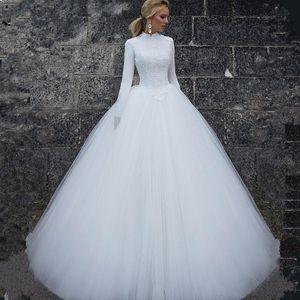 2020 Элегантный Высокая Шея Мусульманское Кружево Тюль Свадебные Платья С Длинными Рукавами Простые Свадебные Платья На Заказ Длинные Свадебные Платья
