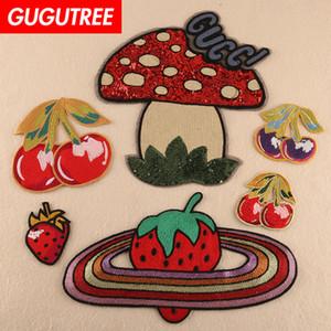 GUGUTREE paillettes ricami fragola ciliegia fungo patch di cartone animato patch badge patch applique per l'abbigliamento FD-204