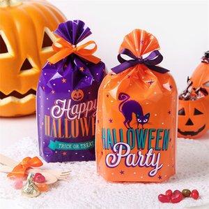 Saco De Pacote De Biscoitos De Plástico Halloween Abóbora Conveniente Carry Cookie Bag Pequeno Presente Trick-or-treat Doces Sacos 50 pçs / set