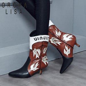 Vente chaude-ORCHA LISA New Western bottes med talon fin vache Cuir mi-mollet Bottes dessinées Partie bottillons hiver Chaussures Femmes C894