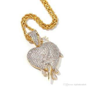 Микро Циркон молния через сердце падение любовь номер 2 в форме сердца кулон высокого класса хип-хоп ожерелье в Европе и Америке