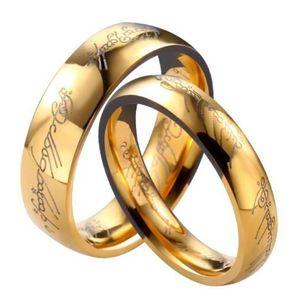 Групповые кольца 6 мм одно кольцо власти Властелин колец Серебряное золото черный HOBBIT Нержавеющая сталь кольцо мода ювелирные изделия для женщин мужчин
