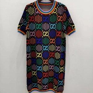 Vestidos de las señoras Marca niñas Midi partido atractivo de los vestidos de diseñador de las mujeres del vestido de lujo del club vestido del ajuste delgado del verano ponen en cortocircuito las camisas 2020667K