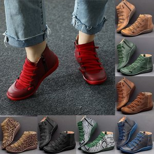 Womens Boots Leather Ankle Shoes Woman Short Boots For Women Lace Up Autumn Winter Botas Mujer
